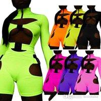 Sexy Frauen Jumpsuits Designer Herbst Langarm Shorts Hosen Body Cut Out Schnalle Button High Neck Zipper Strampler 6 Farben