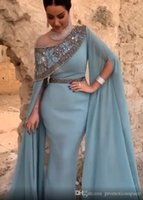 Dubai Arabic Dusty Blue Evening Dresses Mermaid Long Sleeves Beaded Ruched Pleats Crystals Custom Made 2022 Prom Party Gown Celebrity Formal Occasion vestidos