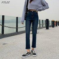 Women's Jeans FTLZZ High Waist Women Retro Blue Washed Denim Pants Streetwear Female Ankle Length Ripped Vintage Ladies Trousers