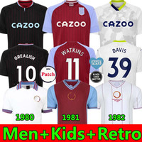 20 21 Aston Villa Soccer Jersey Barkley McGinn Watkins M.Trezeguet Wesley Davis Retro 1980 1981 1982 Football Jerseys Hommes + Kits d'enfants