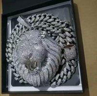 Iced Out Pendant Cuban Link Chain Big Pendants Mens Jewelry Hip Hop Luxury Designer Necklace Bling Diamond Lion Animal Rapper Dj Accessories
