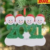 DHL الراتنج شخصية ثلج عائلة من 4 شجرة عيد الميلاد زخرفة هدية مخصصة لأم أبي كيد الجدة الجد