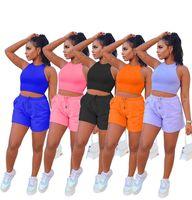 Kadınlar Seksi Eşofman Iki Parçalı Set Mahsul Tops Kısa Pantolon Koşu Takım Elbise Yaz Rahat Giyim Katı Tank Top Şort Spor 5008