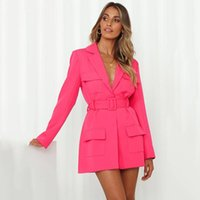 Women's Suits & Blazers Women Casual Solid Color Blazer Sexy Deep V Neck Long Sleeve Tailored Collar Suit Jacket With Belt Pocket 2021 Autum