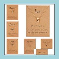 & Pendants Jewelrymen Women Wish Card Necklaces Horoscope Zodiac Sign Gold Diamonds Pendant 12 Constellations Jewelry Ps0608 Drop Delivery 2