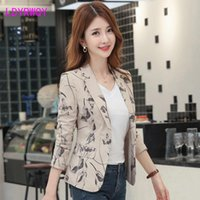 Women's Suits & Blazers Autumn Korean Version Of The Self-cultivation Retro Printing Small Suit Jacket Female Office Lady Single Breasted