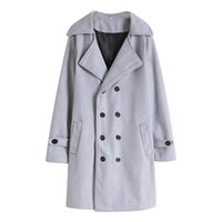 Men's Wool & Blends LUCLESAM Men Winter Warm Solid Color Woolen Trench Coat Long Double Breasted Overcoat Abrigo Hombre Manteaux Longs