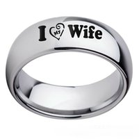 Love Wife Heart Rings Couple Gifts Stainless Steel Band Lover Jewelry Size 6-13