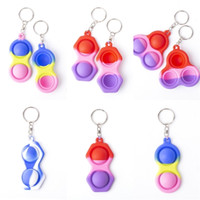 Simples Dimple Keychain Fidget Sensory Push Pop Brinquedos Push Bubble Gradient Triângulo Colorido Silicone Descompression Toy Keyring Pingente G22402
