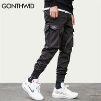 Gonthwid fita fivela multi-bolsos harem corredores calças streetwear homens hip hop casual carga calça calças calças macho 210723