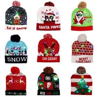 Adult Knitted Christmas Children Decorations Hat Woolen Yarn Colorful Glowing Hats 11 Styles