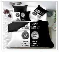 Blackwhite il suo lato la sua laterale Set di biancheria da letto matrimoniale Letto matrimoniale 3pcs Biancheria da letto Biancheria da letto coppia Cover Duvet Set 44 V2