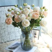 66 سنتيمتر الحرير 3 رؤساء الفاوانيا الزهور الاصطناعية فرع الهجين باقة الزفاف المنزل الديكور مكتب ديكور عيد الحب