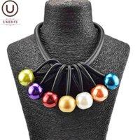 Regno Unito Choker Multicolor Pearl Collana Donne Gomma Gioielli in gomma fatti a mano Maglione Catena corta Collane Collane Party