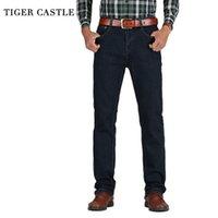 Tiger Castle Hommes High Taille Jeans Coton Coton Classic Stretch Jeans Bleu Blue Mâle Denim Pantalons Spring Automne Hommes Pantalons 210317