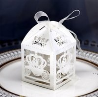 50 unids Blanco Láser Corte Encantado Caja de matrimonio, Caja de calabaza Favor de Boda Caja de regalo Caja de regalo Caja de caramelo HWA4245