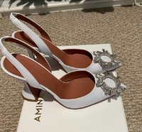Fashion Season Shoes Amina Italy Muaddi Pumps White Leather Begum Slingback Crystal Wedding Party Bride Bridesmaid Princess