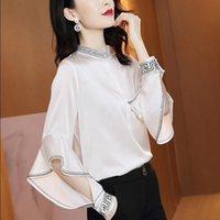 2021 الخريف أزياء تصميم المرأة الوقوف طوق طويلة الأكمام الجوف خارج الكشكشة خليط الساتان النسيج بلوزة قميص زائد الحجم smlxlxxl3xl