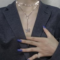Pendant Necklaces Fashion Hip Hop Style Double Layer Butterfly For Women Silver Color Party Jewelry Accessories Gifts