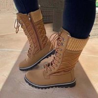 Factory in Stock Amazon Hot plus Size Mid-Calf Length Snow Boots Female 21 New Foreign Trade Wool Mouth Lace up Fashion Boots
