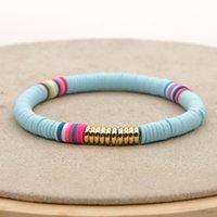 المجوهرات اليدوية بالجملة شاطئ بوهيميا الحلو 6 ملليمتر اللون لينة الفخار سوار المرأة مرونة حبل سوار