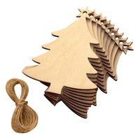Christmas Decorations 50pcs Wooden Hanging Plaque Tree Sign Xmas Home Party Decoration
