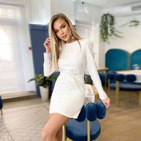 Casual Dresses Mini vestido lpis formal de cor slida com mangas pridas, pea social para trabalho gola redonda, outono FLE3