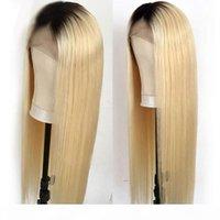 Seidige Gerade Ombre Color T1B 613 Remy Brasilianische Haarspitze Vordere Menschenhaarperücken Für schwarze Frauen Hälfte Hand gebunden 16-24 ''
