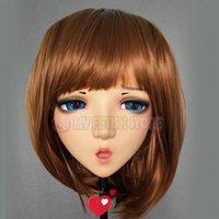 Festa máscaras (han) fêmea doce menina resina meia cabeça kigurumi bjd olhos crossdress cosplay japonês anime papel lolita máscara