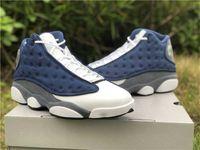 أحذية مصممة كلاسيكية أعلى 13 فلينت رمادي - الجامعة البيضاء الأزرق Gigi 13s 3 متر عاكس ألياف الكربون الحقيقي الرجال في الهواء الطلق أحذية رياضية مع صندوق