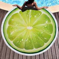 Sandía Naranja Microfibra Microfibra Redonda Toalla de Playa Fruta Toallas de baño de ducha gruesas Toallas de natación de verano Círculo de natación con borlas 500g FWF8062