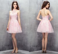 Pink Homecoming Dresses Short High Neck Bridesmaid Dress Prom Party Gowns Graduation Appliqued Backless Zipper Tulle Sleeveless 2021