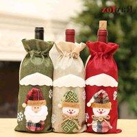 Decoração de Natal para envoltório de garrafa de casa Cristmas Santa Claus Winebottle Capa protetora Merry por venda por atacado