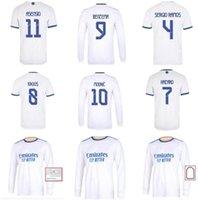 Manches longues 2021 2022 Real Madrid Soccer Jerseys Asensio Casemiro Marcelo James Modric Jovic Ramos Hazard Hazard Benzema Football Shirt