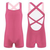 One-Pieces Kids Girls Ballet Dance Gymnastics Leotards Bodysuit Crisscross Back Solid Boxer Bottom Artistic Swimsuit