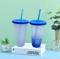 cheapest!!24oz color changing cup clear color Plastic Drinking Tumblers colors Reusable cold drinks cup magic Coffee beer mugs 78 S2