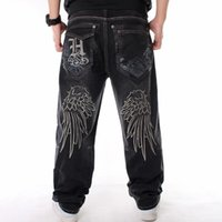 Hombres Street Dance Hiphop Hiphop Book Fashion Boreing Negro Pérdida Tablero Denim Broek Total Masculino Rap Hip Hop Jeans