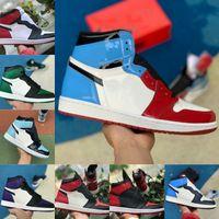 Yüksek 1 1 S Basketbol Ayakkabıları Erkekler Kadınlar Bred Toe Siyah Yeşil Oyunu Kraliyet UNC Patent Mahkemesi Mor Chicago Fragmanı Yasak Büküm Spor Ayakkabı V85