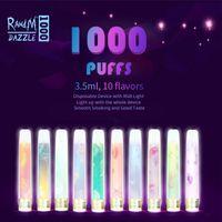 100% оригинальные светящиеся RANDM Dazzle 1000 одноразовые E сигарета 1000Позки R и M RGB легкая трубка везба ручка