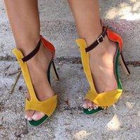 Sandals Yellow Orange Green Suede Mixed Color T-Strap Open Toe Graceful Dress Shoes Stiletto Heel Patchwork Pumps