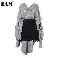 [EAM] Women Black Plaid Irregular Stitch Big Size Dress V-Neck Long Sleeve Loose Fit Fashion Spring Autumn JG892 210915