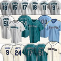 Seattle 24 Ken Griffey Jr Mariners Baseball Jerseys 22 Robinson Cano 51 Ichiro Suzuki 1 Kyle Lewis 11 Edgar مارتينيز Seager 9 Dee Gordon 7 Marco Gonzales ديلان مور