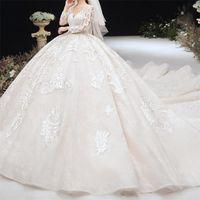 الفاخرة دبي الكرة ثوب الزفاف فساتين الزفاف طويلة الأكمام الرباط appliqued أثواب الزفاف أنيقة العربية مخصص vestidos دي نوفيا