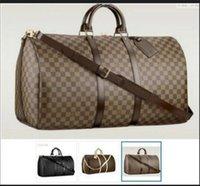 """Homens Duffle Bags Womens Leather Bagagem Luxo Designer Bolsas de Grande Capacidade Esporte Viagem Saco Sacreta 55cm Totes Carteira GG """"LV"""" Louis ... Sacos YSL ... Vutton"""