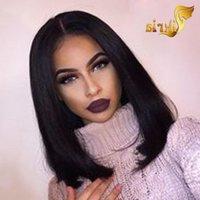 Günstige Glueless Bob Perücken Jungfrau Menschliches Haar Lace Front Perücken Für Schwarze Frauen Gerade Peruanische Brasilianische malaysische volle Spitze Menschenhaare WI AILF