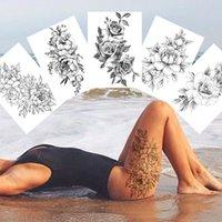 مثير زهرة الوشم المؤقت للنساء الجسم فن الرسم الذراع الساقين الوشم ملصق واقعية وهمية أسود روز للماء الوشم