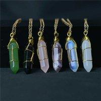 Роскошные дизайнерские ожерелье с шестигранной формой чакра натуральный камень заживление заживления подвески S с золотой цепочкой для женщин украшения подарок Willl и песчаные украшения