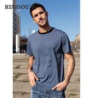Men's T-Shirts KUEGOU Summer Clothing Man's Short Sleeve T-shirt Striped Fashion Elastic T Shirt For Men High Quality Top Plus Size ZT-90075