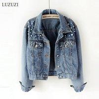 LUZUZI 5XL Short denim jacket female Ulzzang beaded pearl lo...