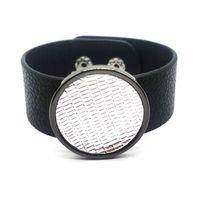 Tennis Europe Fashion Black Leather Bracelets For Women & Bangles Elegant Punk Wrap Wide Bracelet Jewelry